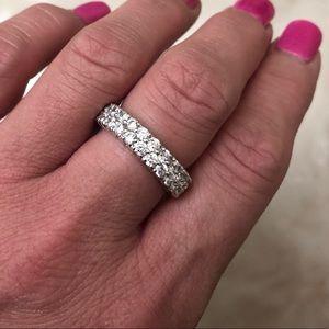 14K White Gold 4.00ct two row Moissanite ring